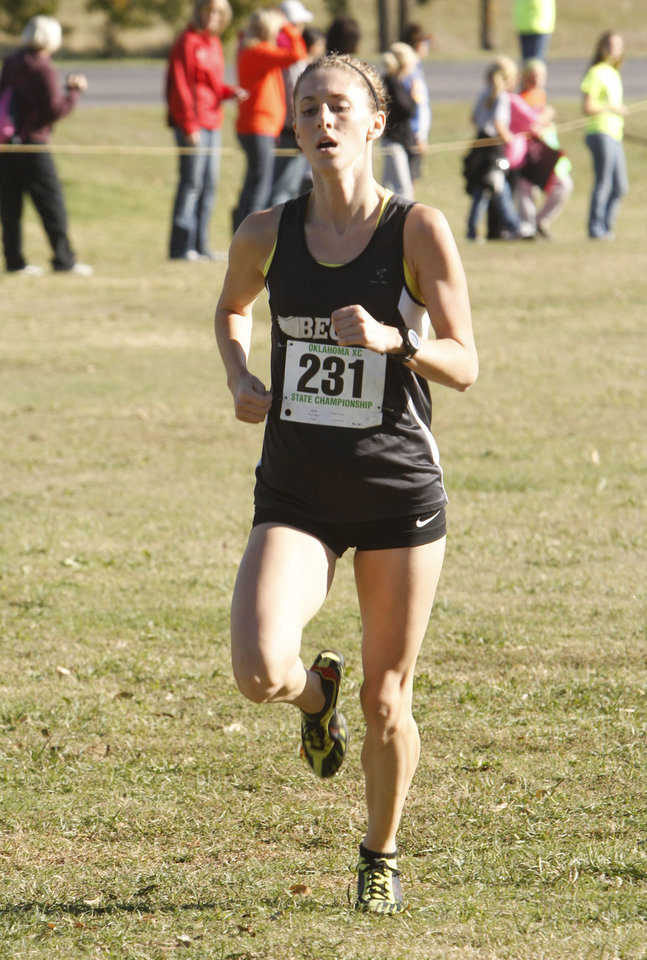 Beggs' Regan Ward heads toward a second place finish during the class 3A girls State cross country meet at Gordon Cooper Vo-Tech in Shawnee, OK, Saturday, October 20, 2012. By Paul Hellstern, The Oklahoman