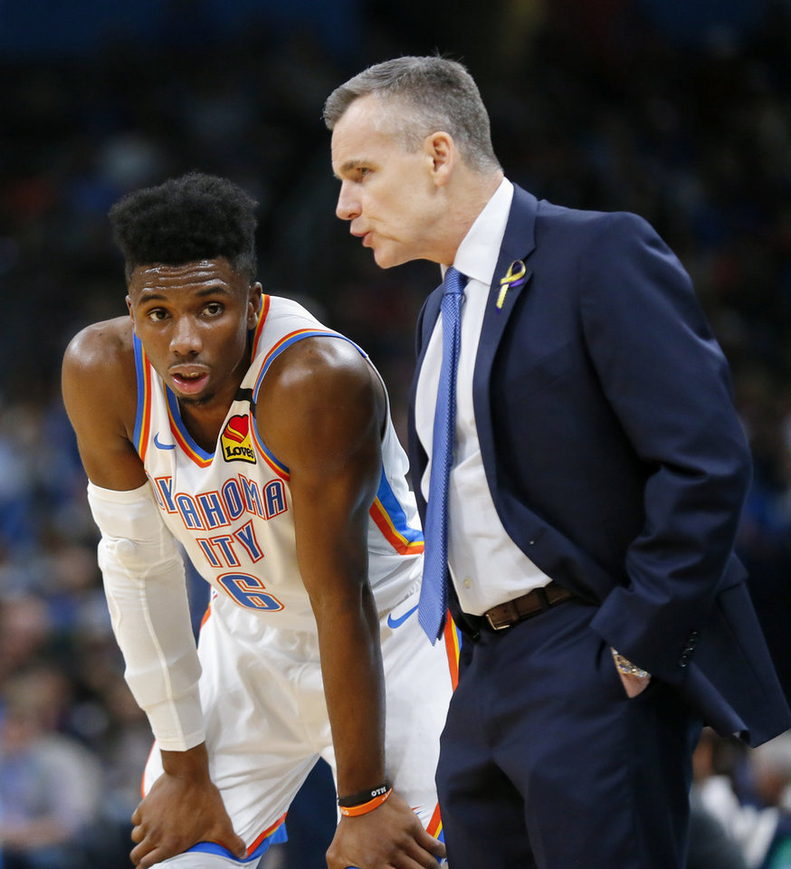 Photo - Oklahoma City's Hamidou Diallo (6) listens to coach Billy Donovan in the second quarter during an NBA basketball game between the Oklahoma City Thunder and Dallas Mavericks at Chesapeake Energy Arena in Oklahoma City, Monday, Jan. 27, 2020. [Nate Billings/The Oklahoman]