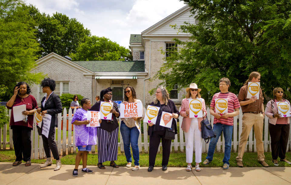 Photo - People gather in support during the Preservation Oklahoma rally for the historic Brockway Community Center at 1440 N. Everest Ave. in Oklahoma City, Okla. on Monday, May 6, 2019.  The structure was home to the Oklahoma Federation of Colored WomenÕs Clubs for nearly fifty years as they fought during a time of segregation. Until the OFCWC sold the property in 2011, the center provided space for community events, and offered services to protect young women and children, improve community unity life, promote equality and racial harmony is at risk to be demolished by the current owners of the building.   [Chris Landsberger/The Oklahoman]