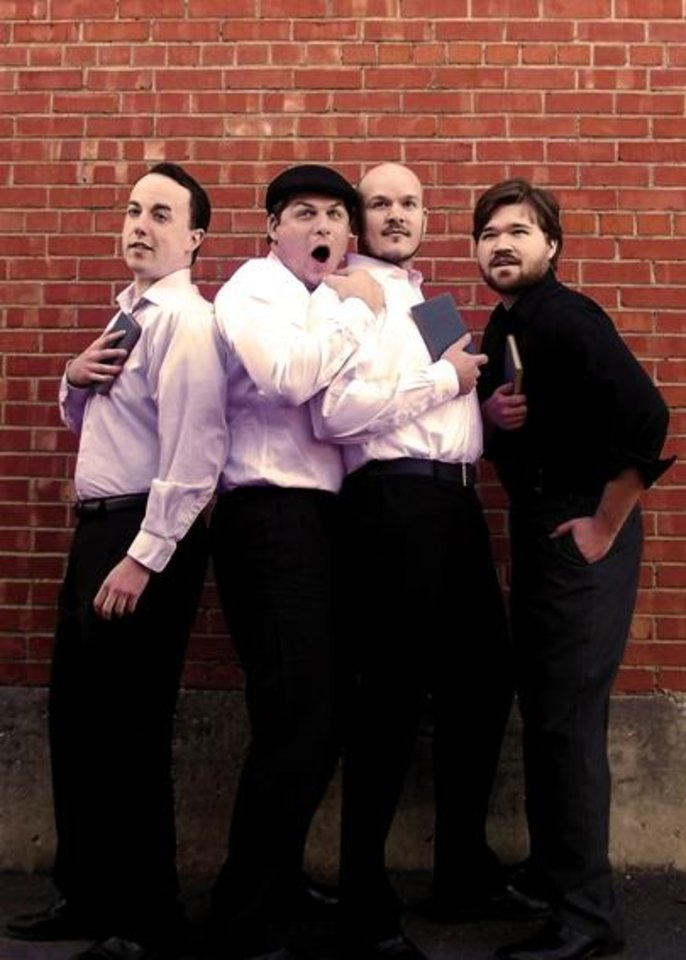 "From left, Ian Clinton plays Longaville, Jeff Burleson plays Dumaine, Sam Bearer plays King Ferdinand and Mitchell Reid plays Berowne in Reduxion Theatre's ""Love's Labour's Lost."""
