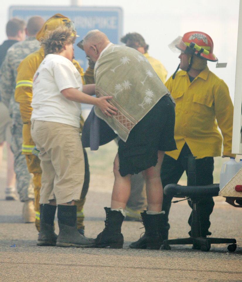 David Milby, 60, of Stillwater, a member of the Iowa Tribe Fire Department, was burned over 26 percent of his body Thursday fighting grassfires in the Wellston area. Milby\'s fire truck caught on fire as well. Milby is in critical condition at Integris Baptist Medical Center in Oklahoma City, according to a hospital spokeswoman. Wind-whipped grassfires Thursday burned across western and central Oklahoma, damaging structures, forcing the closure of Interstate 35 and leading to evacuations of residences in the fires\' paths. April 09, 2009. Photo by Steve Gooch, The Oklahoman