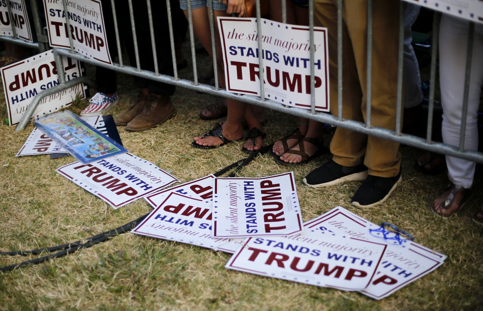 Photo - Donld Trump supporters wait for  the Republican presidential candidate before a rally at the Oklahoma State Fair in Oklahoma City, Friday, September 25, 2015. Photo by Bryan Terry, The Oklahoman