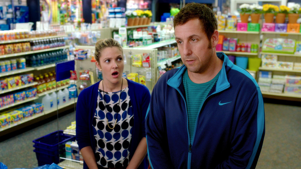 Photo - This image released by Warner Bros. Pictures shows Drew Barrymore, left, and Adam Sandler in a scene from the film,