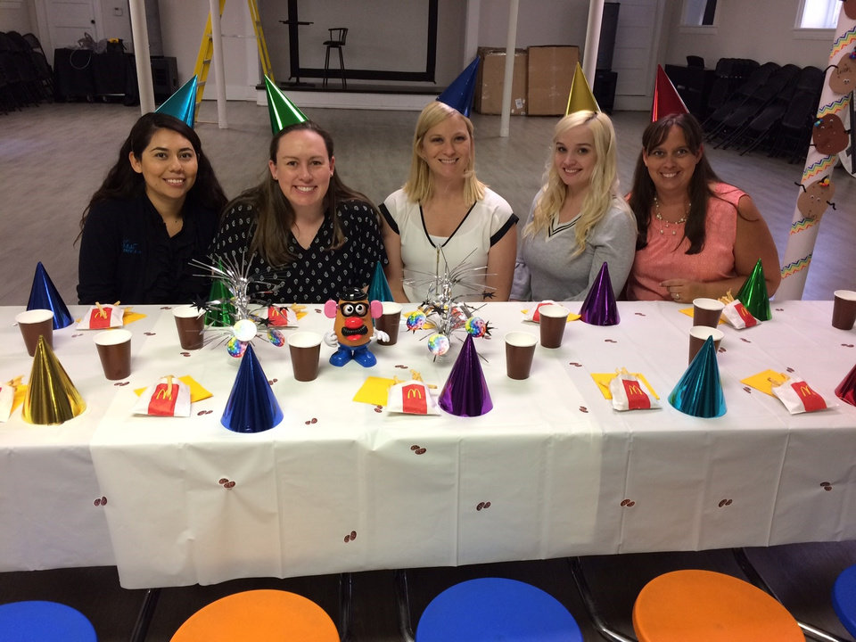 Photo -  The First State Bank employees host a birthday party at Positive Tomorrows, Oklahoma's only school for homeless kids. [Photo provided]
