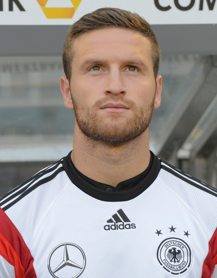 Photo - FILE - In this June 1, 2014 file picture national soccer player Shkodran Mustafi  poses prior to the friendly soccer match between Germany and Cameroon in Moenchengladbach, Germany.  Germany attacking midfielder Marco Reus has been ruled out of the World Cup with an ankle injury sustained in Friday's 6-1 friendly win over Armenia. The German football federation says Saturday June 7, 2014 Reus suffered a partial ligament tear in his left ankle and will miss between six to seven weeks before he can resume training again. Sampdoria defender Shkodran Mustafi has been called up as a late replacement for the Borussia Dortmund player.  (AP Photo/dpa, Bernd Thissen,file)