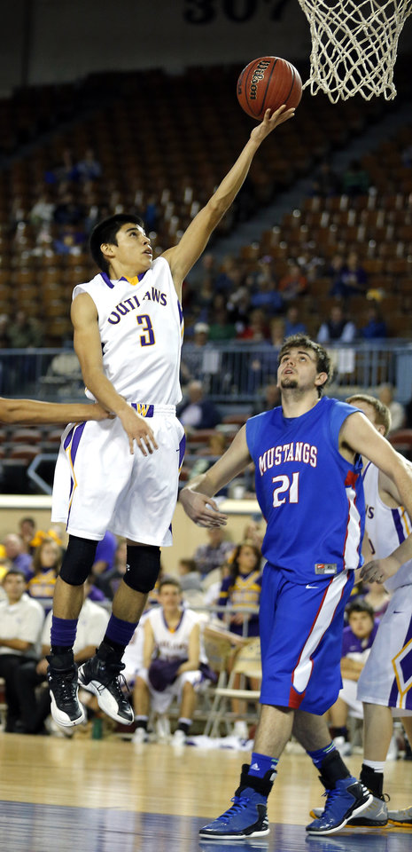 Weleetka's Shaun Bencoma  shoots a lay in front of Fort Cobb's Daniel Cobbs during the Class A boys semifinal game of the state high school basketball tournament between Weleetka and Fort Cobb at the State Fair Arena., Friday, March 1, 2013. Photo by Sarah Phipps, The Oklahoman