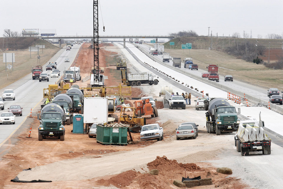 "Photo - Federal stimulus funds are being used to improve Interstate 40 near Banner Road in Canadian County. As recently as last spring, that interstate was labeled as one of the ""Worst Roads in America"" by Parade Magazine.  PHOTO BY PAUL B. SOUTHERLAND, THE OKLAHOMAN"