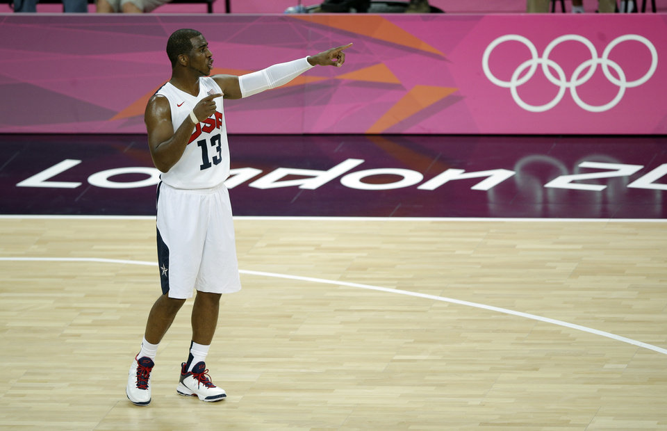 United States' Chris Paul gives directions during the men's gold medal basketball game against Spain at the 2012 Summer Olympics, Sunday, Aug. 12, 2012, in London. (AP Photo/Matt Slocum)
