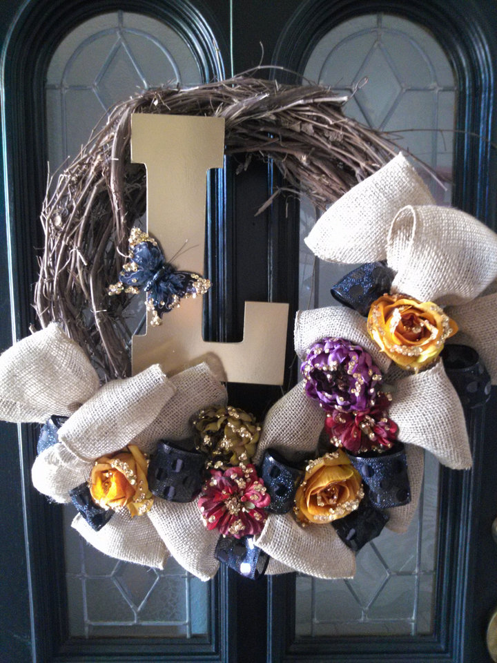 Photo - This fall wreath created by Lezley Lynch of Lezley Lynch Designs in Edmond, features less traditional fall colors. This was one of Lynch's many pins on her Pinterest boards. Photo provided.