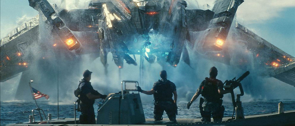 Photo - From left, Beast (John Tui), Hopper (Taylor Kitsch) and Raikes (Rihanna) are stunned by invaders in