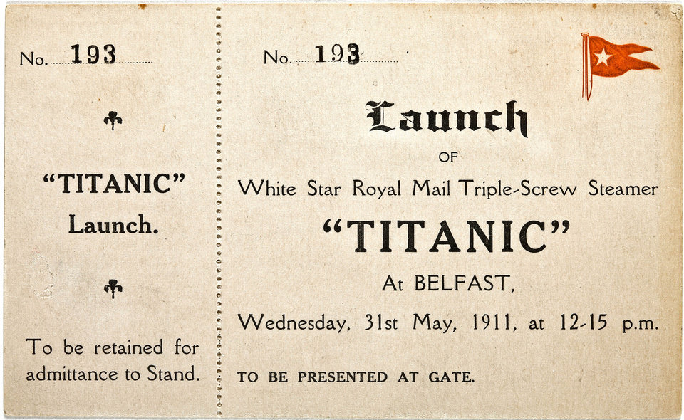 In this Jan. 31, 2012 photo provided by Bonhams auction house, a ticket to the May 31, 1911 launch of the R.M.S. Titanic is shown. The ticket will be among the Titanic related artifacts be put up on the block by Bonhams during their �R.M.S. Titanic: 100 Years of Fact and Fiction� auction in New York on Sunday, April 15, 2012. (AP Photo/Bonhams Auction House)