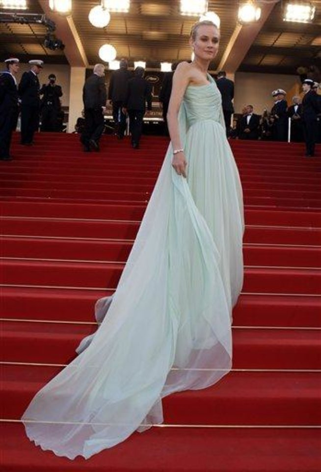 Photo - Wearing a dress by Versus, actress and member of the Jury Diane Kruger arrives for the opening ceremony and screening of Moonrise Kingdom at the 65th international film festival, in Cannes, southern France, Wednesday, May 16, 2012. (AP Photo/Lionel Cironneau)