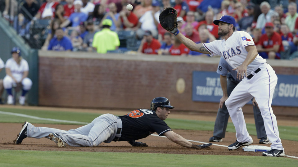 Photo - Miami Marlins Ed Lucas (59) dives back to base beating the pick off against Texas Rangers first baseman Brad Snyder during the first inning of a baseball game in Arlington, Texas, Tuesday, June 10, 2014. (AP Photo/LM Otero)