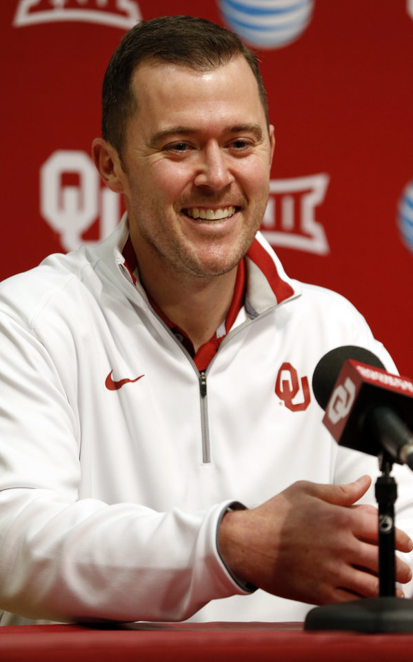 Photo - University of Oklahoma Sooner's (OU) new offensive coordinator Lincoln Riley speaks with the media on Jan. 17, 2015 in Norman, Okla. Photo by Steve Sisney, The Oklahoman