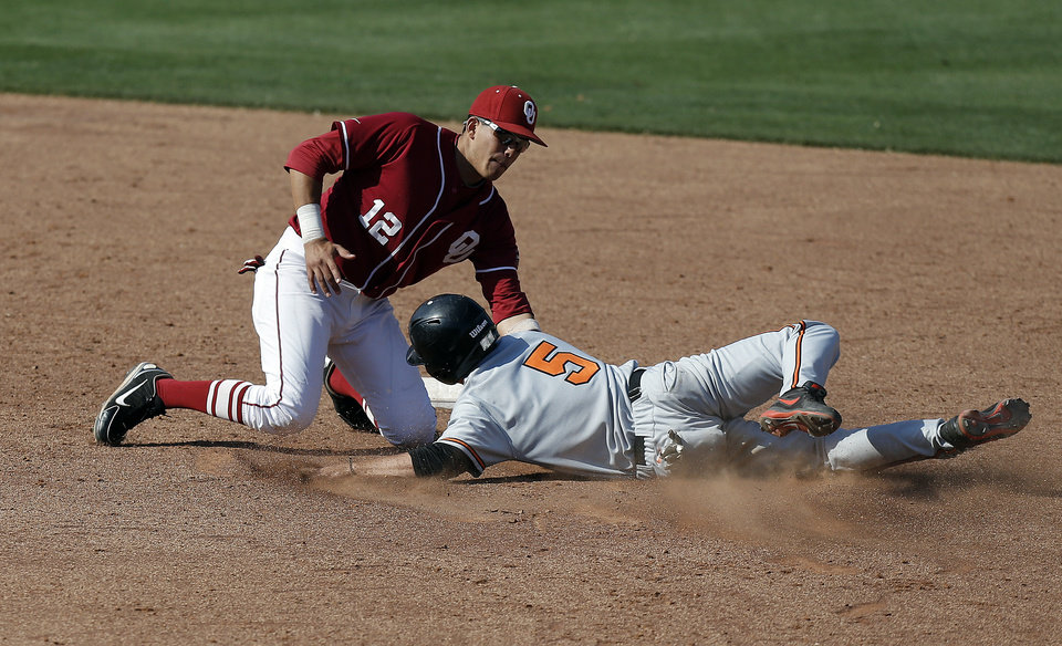 Oklahoma\'s Hector Lorenzana tags out Oklahoma State\'s Donnie Walton during the Bedlam baseball game between the University of Oklahoma and Oklahoma State University at the Chickasaw Bricktown Ballpark in Oklahoma CIty, Saturday, May 11, 2013. Photo by Sarah Phipps, The Oklahoman
