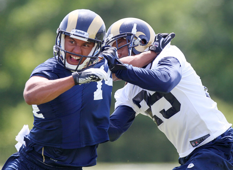 Photo -   St. Louis Rams wide receiver Nick Johnson, left, tries to get past cornerback Josh Gordy during a special teams drill at NFL football practice Thursday, June 14, 2012 in St. Louis, Mo. (AP Photo/The St. Louis Post-Dispatch, Chris Lee) EDWARDSVILLE INTELLIGENCER OUT. THE ALTON TELEGRAPH OUT