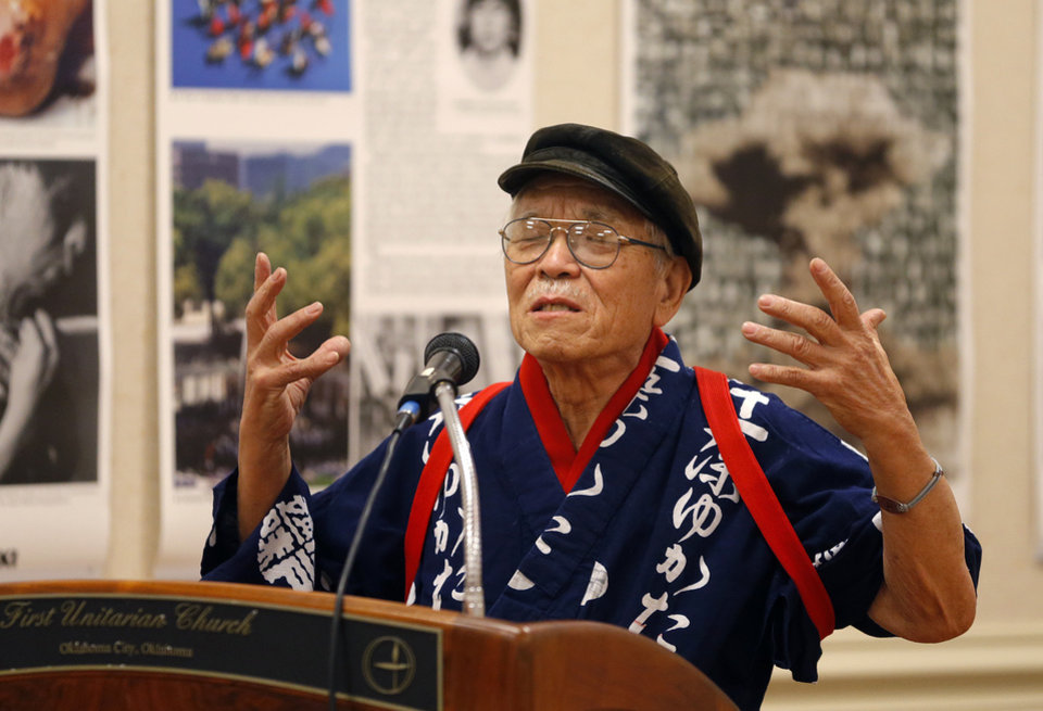 Photo - Hiroshima bombing survivor Takashi Tanemori shares his story and message of forgiveness at the First Unitarian Church in Oklahoma City, Saturday, March 21, 2015. Photo by Bryan Terry, The Oklahoman