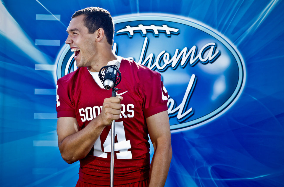 Photo - FOOTBALL TAB USE ONLY:      COLLEGE FOOTBALL / OKLAHOMA IDOL / AMERICAN IDOL: Oklahoma quarterback Sam Bradford poses for a photo during the University of Oklahoma Sooners (OU) media day at the Gaylord Family -- Oklahoma Memorial Stadium on Friday, Aug. 7, 2009, in Norman, Okla.   Photo by Chris Landsberger, The Oklahoman  ORG XMIT: KOD