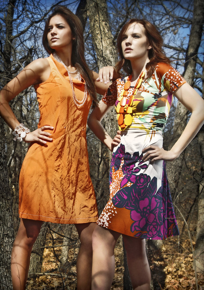 Photo - Zenobia orange crinkle dress and Etro multi-print dress, from Balliet's. Models are from Anthony David Agency. LIFE Spring Fashion preview shot at Lake Arcadia on Friday, March 5, 2010, in Edmond, Okla.  Photo by Chris Landsberger, The Oklahoman ORG XMIT: KOD