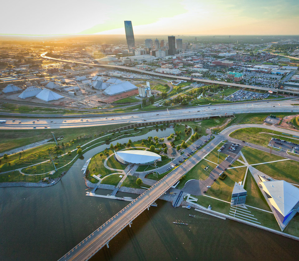 Photo - The boathouse district along the Oklahoma River is part of a revitalized downtown thanks to bets made by civic leaders that a waterway once derided as an ugly ditch could be transformed into one of the country's premier rowing venues. Photo © Insight Visual Media www.goivm.com