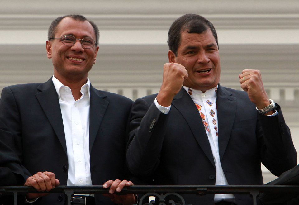 Photo - Ecuador's President and candidate for re-election Rafael Correa, right, and vice presidential candidate Jorge Glass celebrate after presidential elections in Quito, Ecuador, Sunday, Feb. 17, 2013. Although official results had still not been released, Correa celebrated his second re-election as Ecuador's president after an exit poll showed him leading by a wide margin. (AP Photo/Martin Jaramillo)