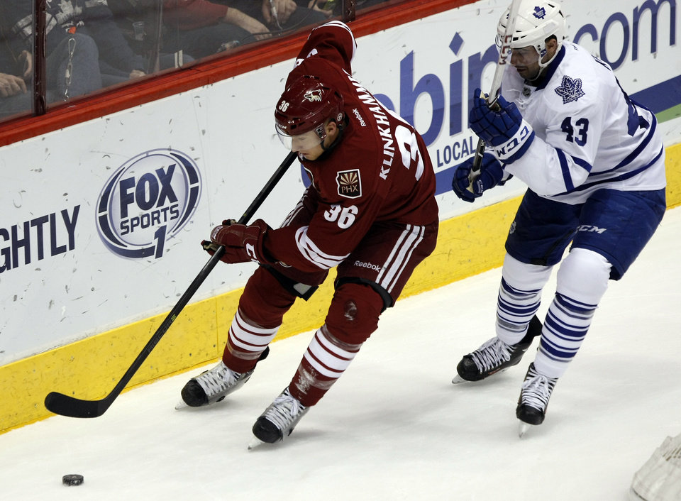 Photo - Phoenix Coyotes left wing Rob Klinkhammer (36) shields Toronto Maple Leafs center Nazem Kadri (43) from the puck in the second period of an NHL hockey game, Monday, Jan. 20, 2014, in Glendale, Ariz. (AP Photo/Rick Scuteri)