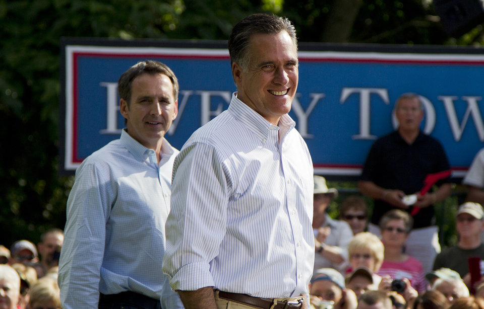 In this June 16, 2012, photo, former Minnesota Gov. Tim Pawlenty, left, stands with Republican presidential candidate, former Massachusetts Gov. Mitt Romney during a campaign stop at campaign stop at Cornwall Iron Furnace in Cornwall, Penn. President Barack Obama and his Democratic allies aren't waiting for Romney to reveal his vice presidential choice. They're already trying to scuff up those considered by political insiders to be most likely to join the GOP ticket. The president�s campaign started swinging at the potential Republican running mates, including Pawlenty, this week while urging home-state Democrats to chime in about the shortcomings (AP Photo/Evan Vucci)