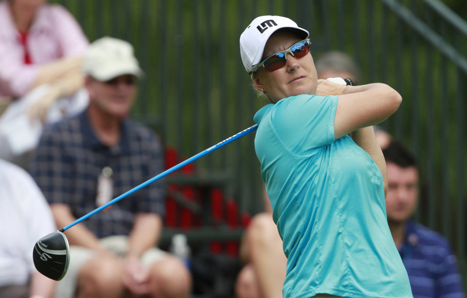 Photo -   Lindsey Wright tees off on the first hole during the third round of the Mobile Bay LPGA Classic golf tournament, Saturday, April 28, 2012, in Mobile, Ala. (AP Photo/Press-Register, Bill Starling) MAGS OUT