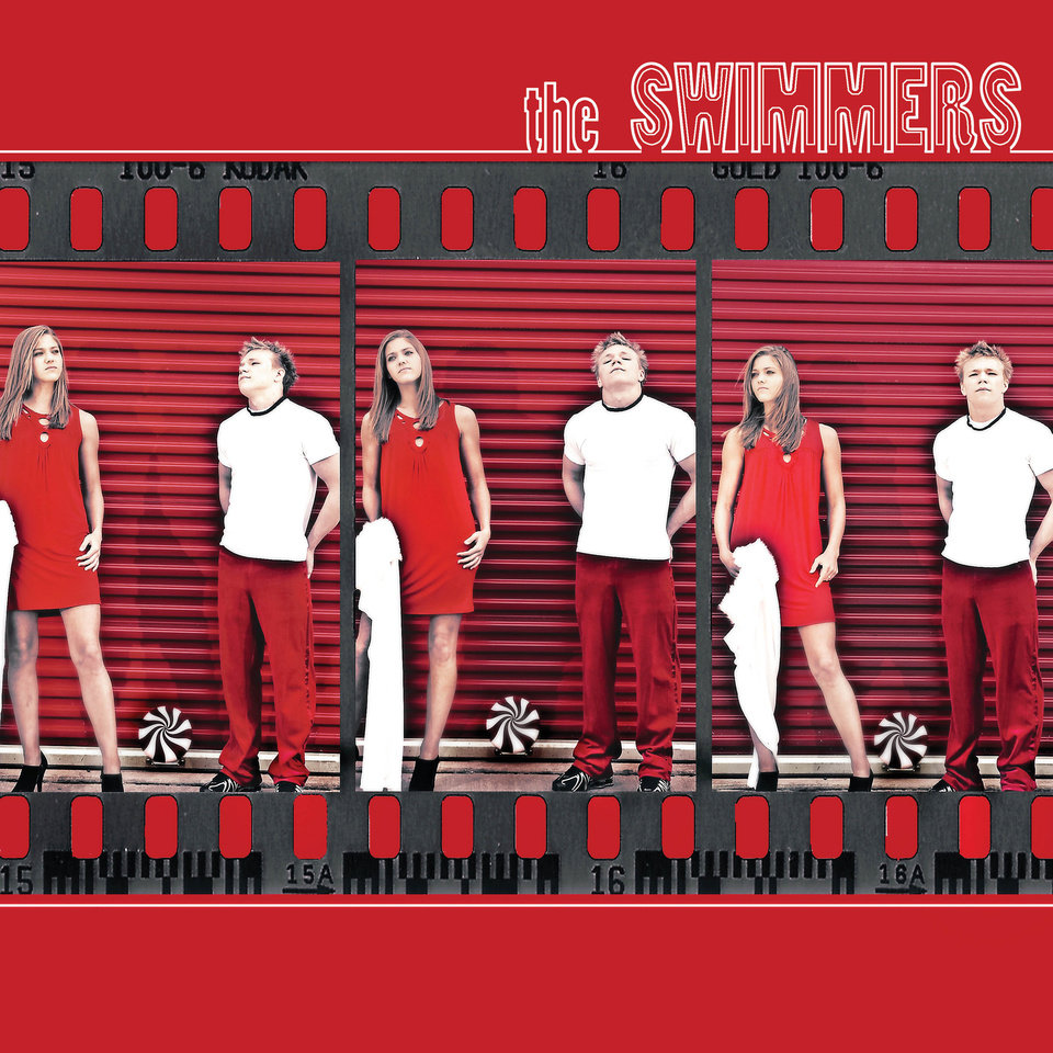 Photo - ALBUM COVER / the SWIMMERS GRAPHIC WITH PHOTO: HIGH SCHOOL SWIMMING: All-State Prep Swimmers of the Year: Putnam City North's Parris Schoppa and Westmoore's Dakota Wheeler, from left, pose for a photo recreating the album cover for The White Stripes