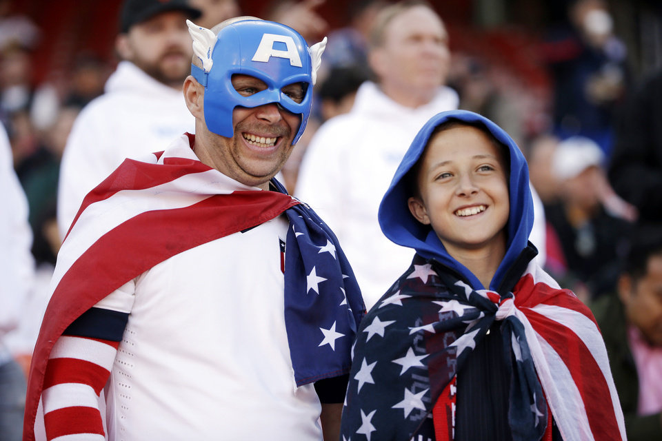 Photo - Fans watch players warm up before the start an international friendly soccer match between the United States and Azerbaijan on Tuesday, May 27, 2014, in San Francisco. (AP Photo/Marcio Jose Sanchez)