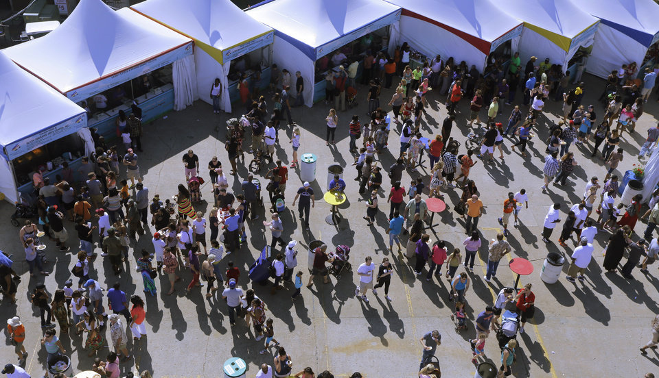 Views from the top of the tower looking down at the food court during the last day of the Festival of the Arts, Sunday, April 28, 2013. Photo by Doug Hoke, The Oklahoman