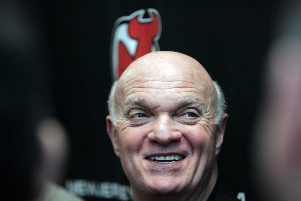 Photo - New Jersey Devils General Manager Lou Lamoriello addresses the media Sunday Jan. 13, 2013 in Newark, N.J.  It was the first day of the NHL hockey training camp for the season.  (AP Photo/The Record of Bergen County,Chris Pedota ) ONLINE OUT; MAGS OUT; TV OUT; INTERNET OUT;  NO ARCHIVING; MANDATORY CREDIT