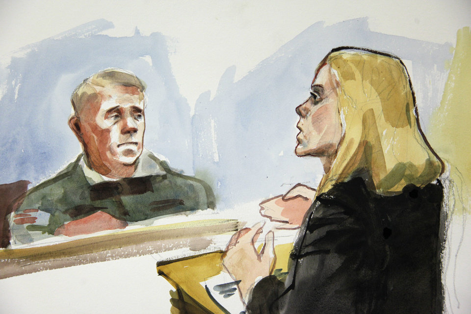 Photo -   In this detail from a courtroom sketch, Emma Scanlan, right, the civilian attorney for U.S. Army Staff Sgt. Robert Bales, makes her closing statements to Investigating Officer Col. Lee Deneke, left, Tuesday, Nov. 13, 2012 on the final day of a preliminary hearing for Bales at Joint Base Lewis McChord in Washington state. Bales is accused of 16 counts of premeditated murder and six counts of attempted murder for a pre-dawn attack on two villages in Kandahar Province in Afghanistan in March, 2012. (AP Photo/Lois Silver)