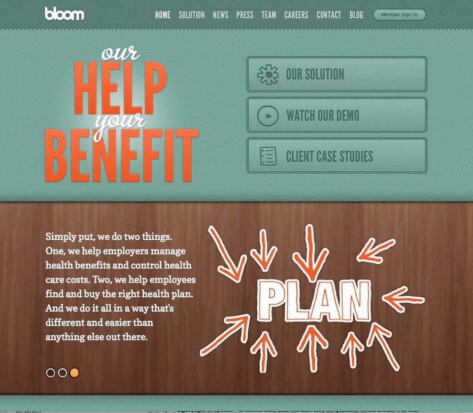 This undated image provided by Bloom Health shows the Bloom Health website. In a major shift in employer-sponsored health insurance coverage, companies such as Sears Holdings Corp. and Darden Restaurants Inc. are giving employees a fixed amount of money and allowing them to choose their own coverage based on their individual needs. (AP Photo/Bloom Health)