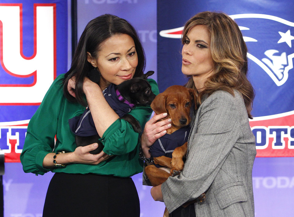 Photo -   This Feb. 1, 2012 photo released by NBC shows co-hosts Ann Curry, left, and the Natalie Morales holding puppies just before a puppy bowl segment on the