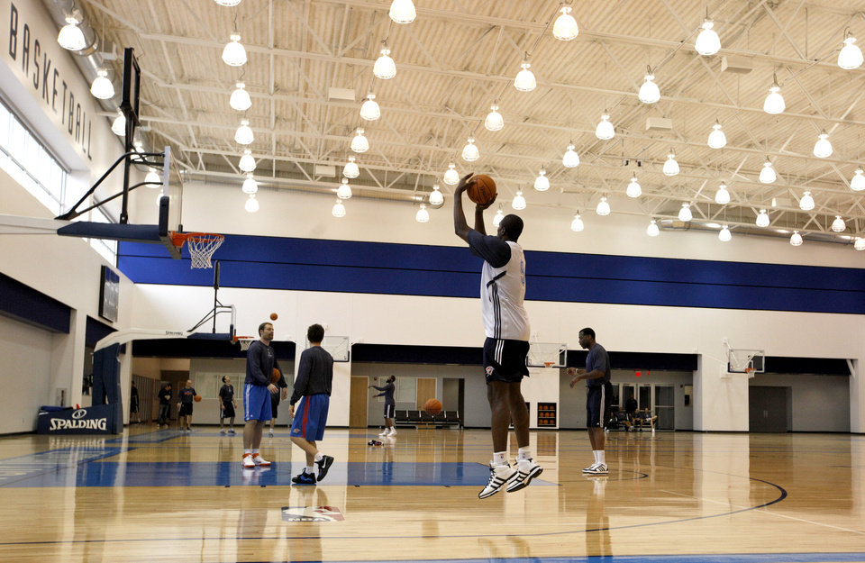 Oklahoma City's Serge Ibaka shoots during the Thunder's practice in Oklahoma City, Sunday, Dec. 11, 2011. Photo by Sarah Phipps, The Oklahoman