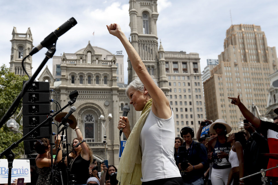 Photo - Dr. Jill Stein, presumptive Green Party presidential nominee, speaks at a rally in Philadelphia, Tuesday, July 26, 2016, during the second day of the Democratic National Convention. (AP Photo/Alex Brandon)