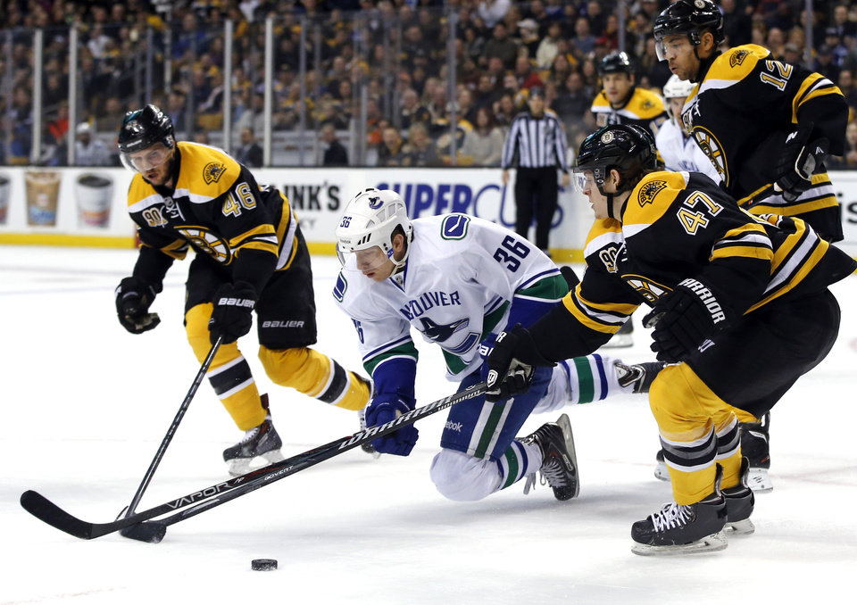Photo - Vancouver Canucks right wing Jannik Hansen (36) chases the puck against Boston Bruins center David Krejci (46), defenseman Torey Krug (47) and right wing Jarome Iginla (12) during the first period of an NHL hockey game in Boston on Tuesday, Feb. 4, 2014. (AP Photo/Elise Amendola)