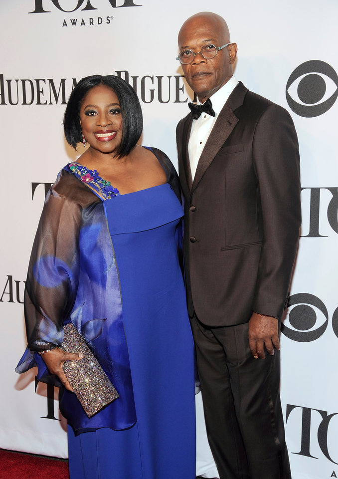 Photo - Samuel L. Jackson, right, and LaTanya Richardson arrive at the 68th annual Tony Awards at Radio City Music Hall on Sunday, June 8, 2014, in New York. (Photo by Charles Sykes/Invision/AP)