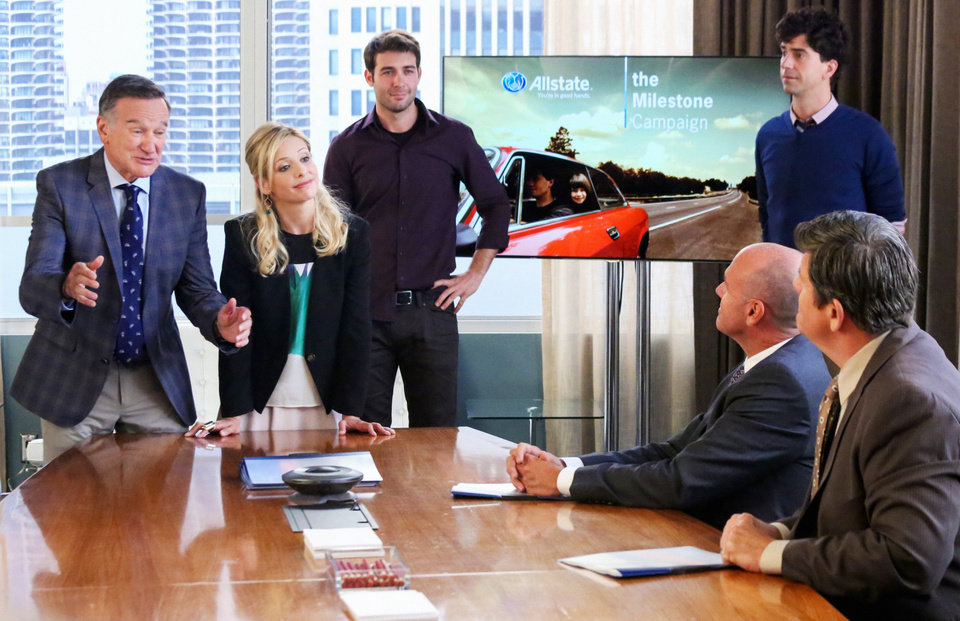 "Photo - This photo released by CBS shows, from left, Robin Williams as Simon Roberts, Sarah Michelle Gellar as Sydney Roberts, James Wolk as Zach Cropper and Hamish Linklater as Andrew Keaneally, in a scene from season 1 of ""The Crazy Ones,"" Thurs. Oct. 10 (9:01 – 9:31 PM, ET/PT) on the CBS Television Network. (AP Photo/Copyright CBS, Richard Cartwright) **MANDATORY CREDIT**"