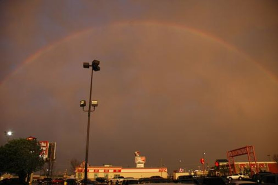 A beautiful rainbow to end a dark day of rain on Friday<br/><b>Community Photo By:</b> Russel Hamm<br/><b>Submitted By:</b> Russel, Oklahoma City