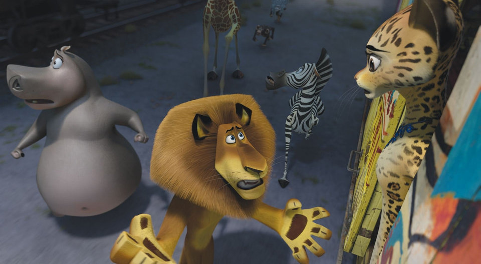 "Clockwise from center, Alex the Lion (voice of Ben Stiller), Gloria the Hippo (Jada Pinkett Smith), Melman the Giraffe (David Schwimmer) and Marty the Zebra (Chris Rock) ask Gia the Jaguar (Jessica Chastain) to help them make a getaway in DreamWorks Animation's ""Madagascar 3: Europe's Most Wanted,"" to be released by Paramount Pictures. <strong></strong>"