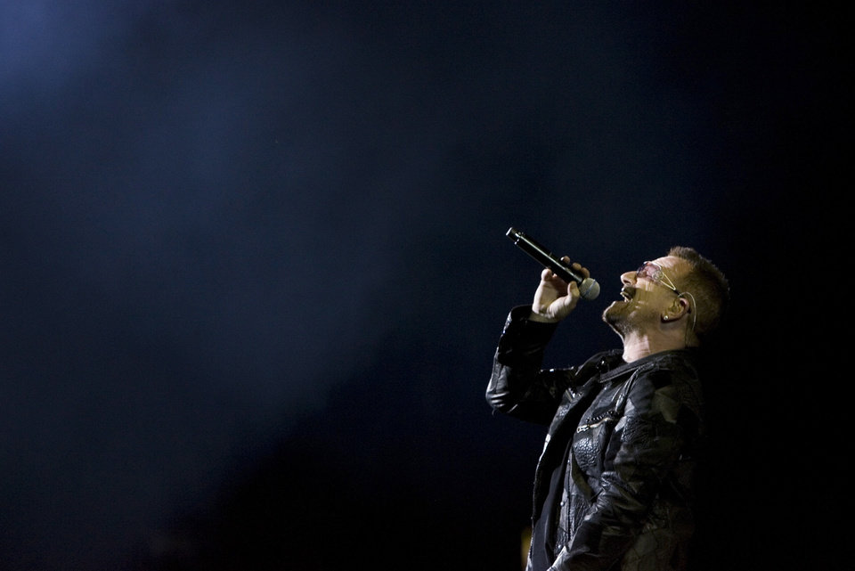 Photo - U2's Bono performs at the Rogers Centre in Toronto as they continue their 360°world tour on Wednesday Sept. 16, 2009. (AP Photo/The Canadian Press, Chris Young) ORG XMIT: CHY102