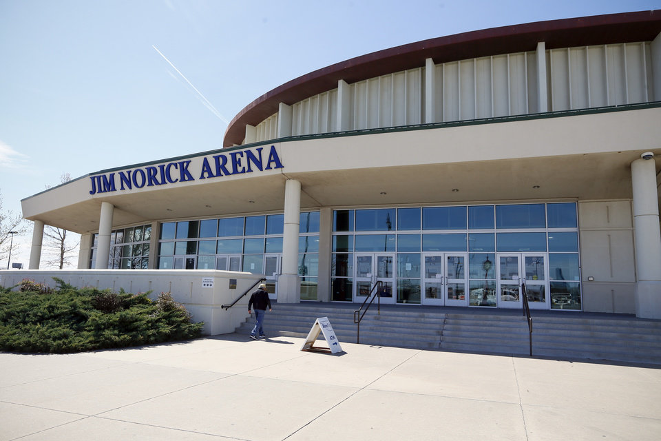 Photo - All games in the state high school basketball tournament were postponed due to the new coronavirus, at Jim Norick Arena, The Big House, at State Fair Park in Oklahoma City, Thursday, March 12, 2020. [Nate Billings/The Oklahoman]