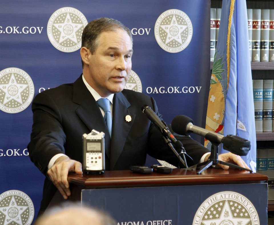 Attorney General Scott Pruitt holds a press conference at the Attorney General's Office to reveal details of the state's go-it-alone mortgage settlement with five big lenders. <strong>PAUL HELLSTERN - The Oklahoman</strong>