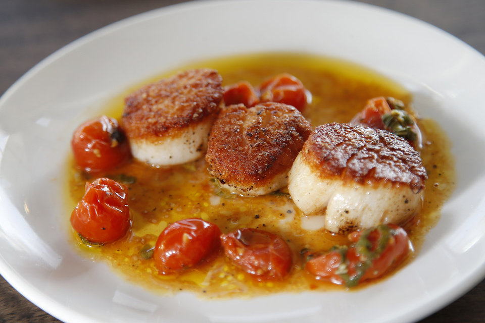 Photo - Seared scallops from The Pritchard.  [Bryan Terry, The Oklahoman]