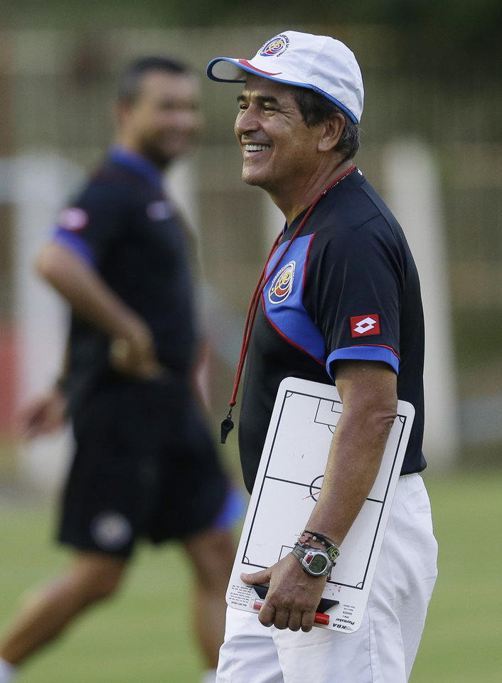 Photo - Costa Rica's head coach Jorge Luis Pinto follows a training session of his team in Recife, Brazil, Saturday, June 28, 2014. Costa Rica will play Greece in a World Cup round of 16 soccer match next June 29.(AP Photo/Andrew Medichini)