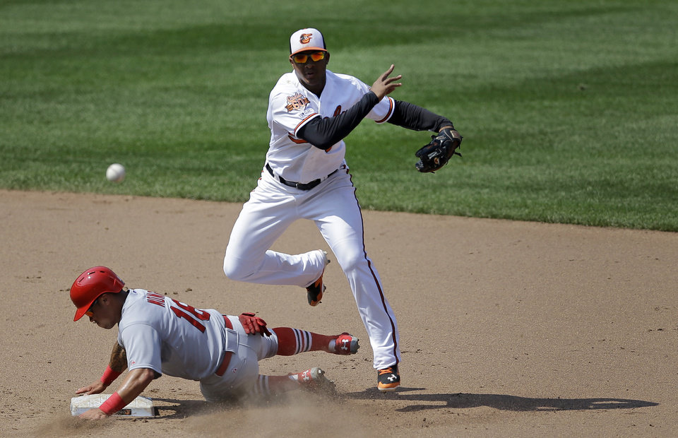Photo - Baltimore Orioles second baseman Jonathan Schoop, top, throws to first base after forcing out St. Louis Cardinals' Kolten Wong, bottom, for a double play on a ground ball hit by Matt Holliday in the fifth inning of an interleague baseball game, Sunday, Aug. 10, 2014, in Baltimore. (AP Photo/Patrick Semansky)