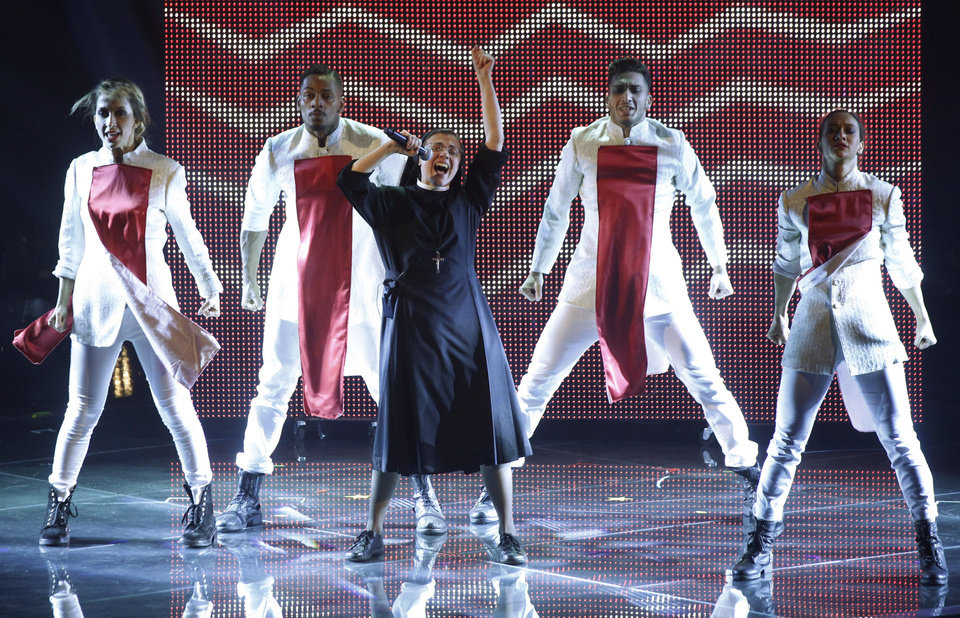 Photo - Sister Cristina Scuccia, performs during the final of the Italian version of the TV talent show