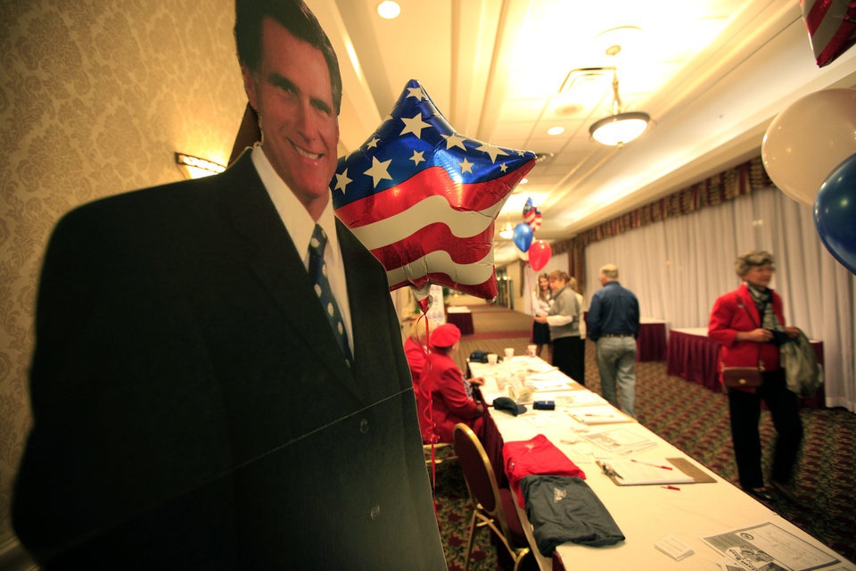 Photo - A life-size cutout of Republican presidential candidate Mitt Romney greets guests Tuesday at the Oklahoma Republican watch party in Oklahoma City.  Photo by Sarah Phipps, The Oklahoman